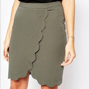 NWT ASOS Wrap Pencil Skirt with Scallop Detail